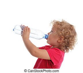 eau, girl, bouteille, boire
