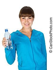 eau, girl, bouteille, jeune