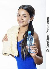 eau, girl, jeune, bouteille