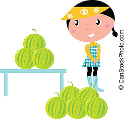 eau, girl, melons, frais, mignon, isolé, blanc