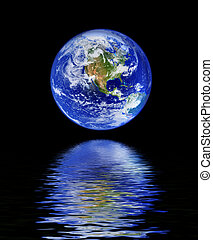 eau, globe, reflet