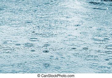 eau, gouttes pluie, surface