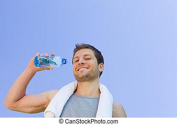 eau, gymnase, après, boire, homme