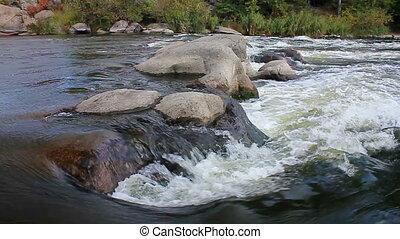eau, (hd), ralenti, ruisseau