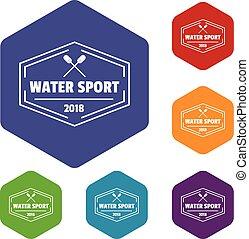 eau, hexahedron, sport, vecteur, icônes