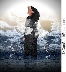 eau, homme affaires, orage, optimiste