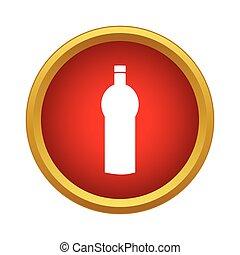eau, icône, style, bouteille, simple