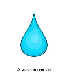 eau, icône, style, goutte, dessin animé