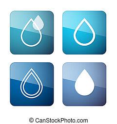 eau, icônes, symboles, -, ensemble, vecteur, gouttes