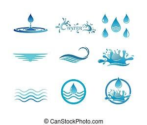 eau, illustration, vecteur, logo, gabarit