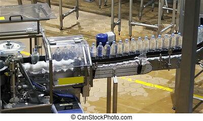 eau, industrie, bouteille, convoyeur