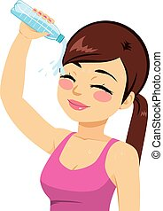 eau, irrigation, femme