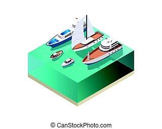 eau, isométrique, composition, vaisseaux