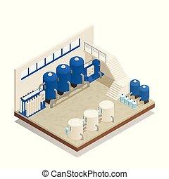 eau, isométrique, facilité, composition, nettoyage