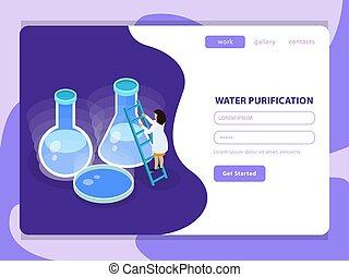 eau, isométrique, purification, composition, coloré