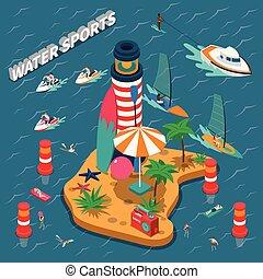 eau, isométrique, sports, composition, gens