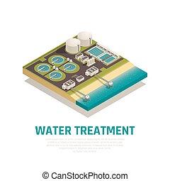 eau, isométrique, traitement, composition