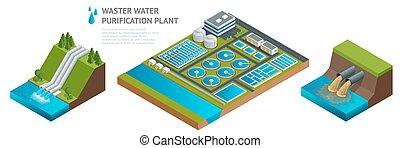 eau, isométrique, vecteur, liquide, danger, stockage, chimique, waste., environment., traitement, réservoirs, water., décharge, gaspillage, plant., eaux égout, sale