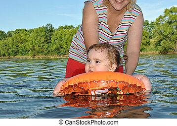 eau, jouet, flotte, enfant