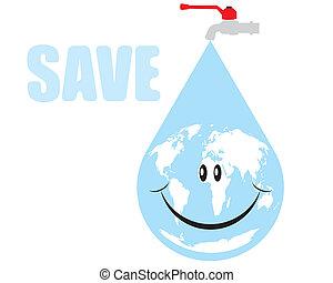 eau, la terre, goutte, vecteur