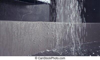 eau, lent, 4k, shower., mouvement, pression, écoulement, fort, dehors