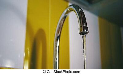 eau, lent, robinet, mouvement, courant, sink.