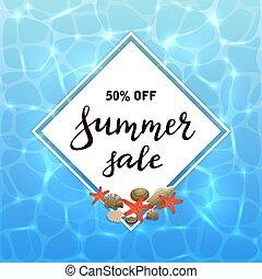 eau, lettrage, vente, fond, été