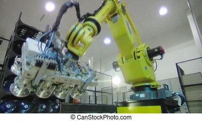eau, ligne, mis bouteille, usine, robot