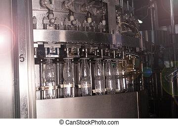 eau, ligne, production, minéral, usine