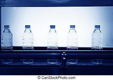 eau, ligne, production, mis bouteille, minéral