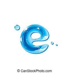 eau, liquide, lettre, -small, lettre e
