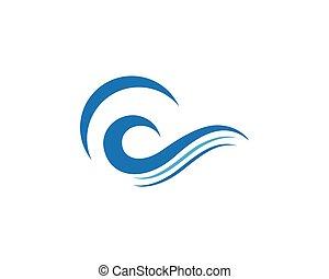 eau, logo, gabarit, vague