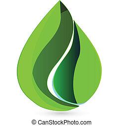 eau, logo, goutte, pousse feuilles