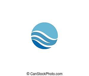 eau, logo, vague
