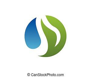 eau, logo, vecteur, gabarit, nature