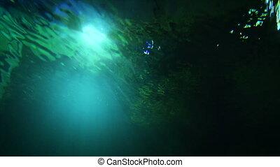 eau, lumière, résumé, vert sombre, traité, fond, sous, grain