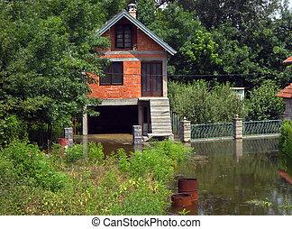 eau, maison, entouré, inondation