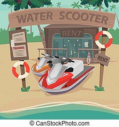 eau, maison, plage, scooters