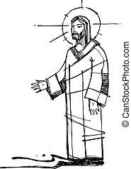 eau, marche, christ, illustration, jésus