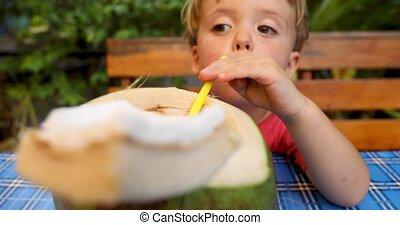 eau, mignon, boire, noix coco, garçon