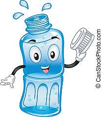 eau, mis bouteille, mascotte