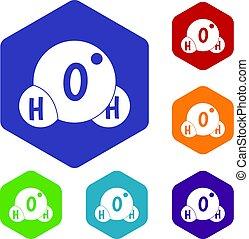 eau, molécule, hexagone, ensemble, icônes