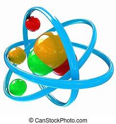 eau, molécule, illustration, 3d
