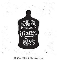 eau, mondiale, carte voeux, jour