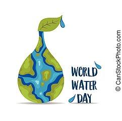 eau, mondiale, day., illustration., vecteur