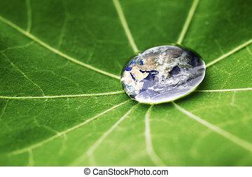 eau, mondiale, goutte