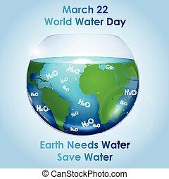 eau, mondiale, intérieur, bol