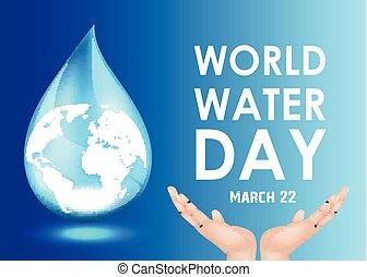 eau, mondiale, intérieur