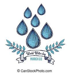 eau, mondiale, jour, affiche