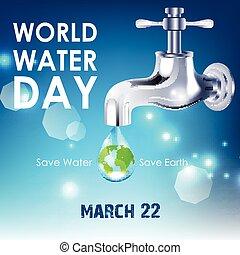 eau, mondiale, jour, fond